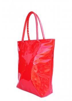 Сумка-шоппер женская лаковая PoolParty Laque красная (модель 2)