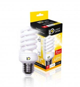 Енергозберігаюча лампа Light Offer Т2 Spiral ЕSL 15W E27 4000К 920Lm (ЕSL - 15 - 022)