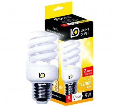 Енергозберігаюча лампа Light Offer Т2 Spiral ЕSL 9W E27 4000К 470Lm (ЕSL - 09 - 022)