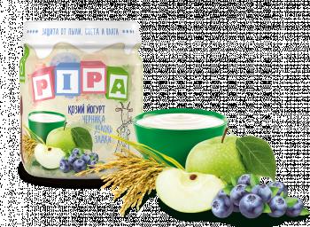Пюре PiPa Яблуко і чорниця з козячим йогуртом і злаками, 100 г (237357)