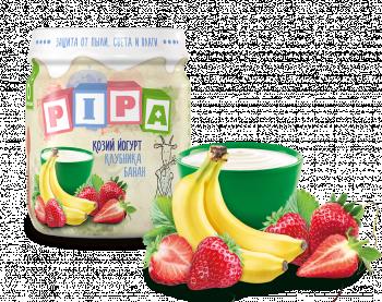 Пюре PiPa Банан і полуниця з козячим йогуртом, 100 г (237359)