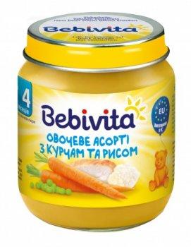 Пюре Bebivita Овочеве асорті з курятиною та рисом, 125 г (071358)