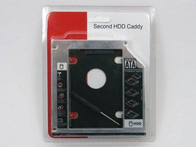 "Карман-адаптер для установки жесткого HDD 2.5"" SATA в отсек mSATA DVD-RW привода 9.5mm. Оптибей (optibay), Second HDD, SSD caddy! В блистере. (61616)"