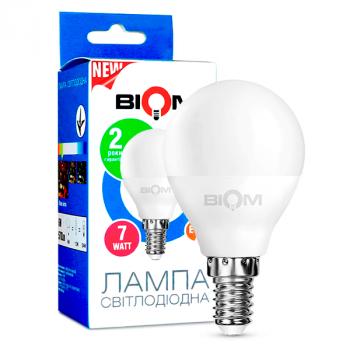 Светодиодная лампа BIOM BT-566 G45 7W E14 4500K (Шар)