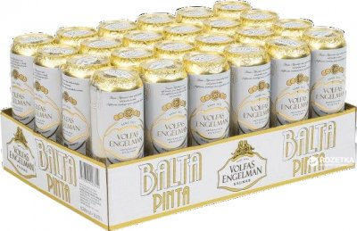 Упаковка пива Volfas Engelman Balta Pinta светлое нефильтрованное 5% 0.568 л x 24 банки (4770301227647_4770301234096)