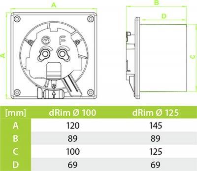 Витяжний вентилятор AirRoxy dRim 125 TS BB
