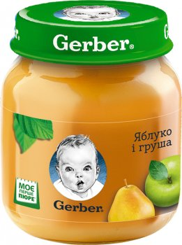 Упаковка фруктового пюре Gerber Яблуко та груша з 6 місяців 130 г х 12 шт. (7613033514869)