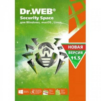 Антивірус Dr. Web Security Space, 1 ПК на 1 рік карт. конверт (KHW-B-12M-1-A3)
