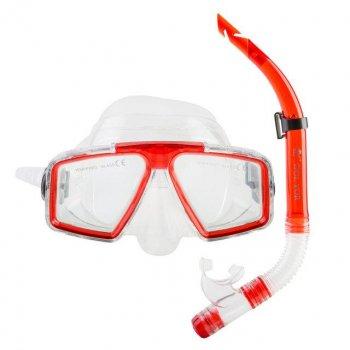 Набор маска с трубкой Dolvor Красный М4204Р+SN07P