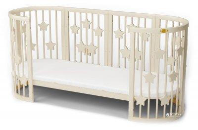 Кроватка трансформер IngVart 9-в-1 со звездочками Молочная (1359001)
