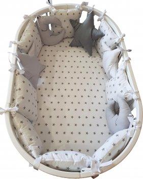 Набор Кроватка трансформер IngVart 9-в-1 Белая +  Матрас + Постельный комплект (ФР-00001158)