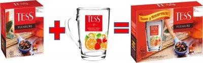 Набор чая черного пакетированного TESS Pleasure с чашкой в подарок (4823096804125)