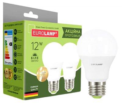 Промо-набір 1+1 Eurolamp LED E27 12W 4000K A60 (MLP-LED-A60-12274 (E))