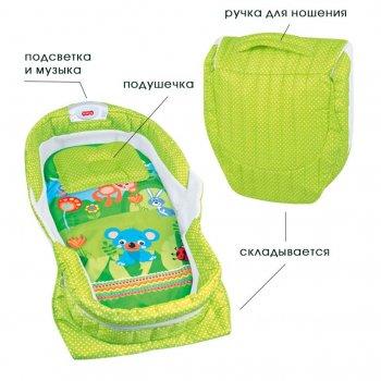 Кроватка портативная, складная мобильная люлька-гнездышко с подсветкой и музыкой, салатовая ibaby (L-888)