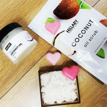 Косметичний набір HiLLARY. Скраб Coconut Oil Scrub, кокосове масло Premium Quality Coconut Oil 100 мл і милко R131801