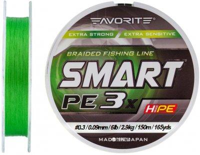 Шнур Favorite Smart PE 3x 150 м # 0.3/0.09 мм 2.9 кг Зеленый (16931063)