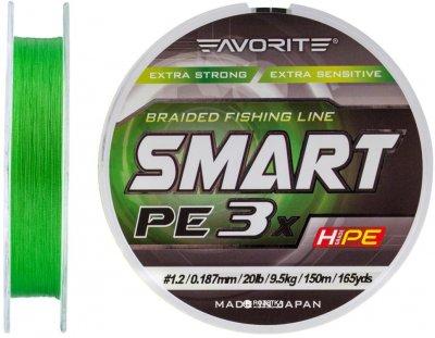 Шнур Favorite Smart PE 3x 150 м # 1.2/0.187 мм 9.5 кг Зеленый (16931069)