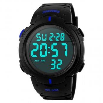 Чоловічий годинник Skmei 1068 BK-Blue BOX (1068BOXBKBL)
