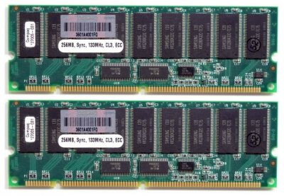 Оперативна пам'ять Compaq SD-RAM 512MB Kit 2x256MB/PC133R/ECC/CL3 (127005-021) Нове