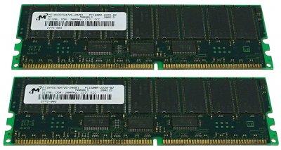 Оперативная память Micron DDR-RAM 1GB Kit 2x512MB/PC1600R/ECC/CL2 (MT18VDDT6472G-202B1) Новое