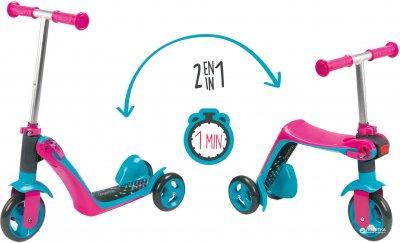 Детский самокат-трансформер Smoby 2 в 1 с металлической рамой трехколесный Розовый (750603)