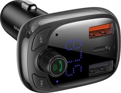 Автомобільний зарядний пристрій Baseus S-13 Bluetooth FM Launcher 2 USB + Type-C Black (CCTM-B01)