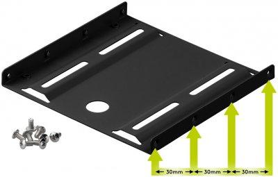Деталь монтажна Goobay Монтажна рама (HDD) 3.5-2.5x1 HDD кріплення(піддон) чорний(75.09.3990)