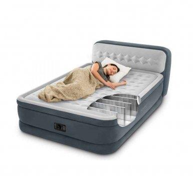 Надувна двоспальне ліжко Intex 64448 PremAire з підголовником, вбудованим електричним насосом і сумкою для зберігання (152х203х86) сіра (it-64448)