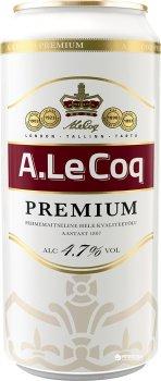Упаковка пива A. Le Coq Premium світле фільтроване 4.7% 0.5 л x 24 шт. (4740098010005)