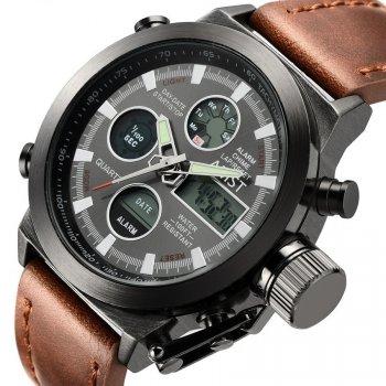 Армейские наручные часы AMST Brown Grape с аналоговым и электронным отображением времени