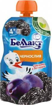 Упаковка дитячого пюре Беллакт Чорнослив з 4 місяців 12 шт х 90 г (4814716002717)