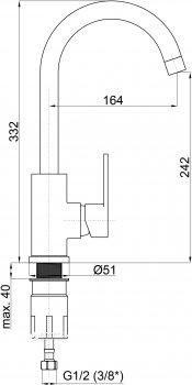 Кухонний змішувач RUBINETA Axe-33 (AX30008)