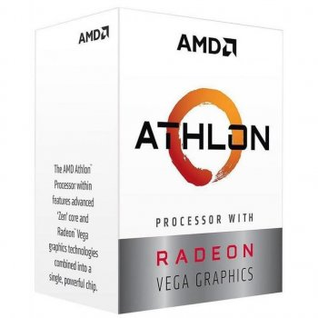 Процессор AMD (AM4) Athlon 200GE, Box, 2x3,2 GHz, Radeon Vega 3 (1000 MHz), L3 4Mb, Raven Ridge