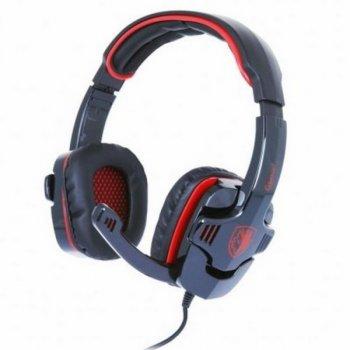 Навушники накладні (повнорозмірні) провідні з мікрофоном Sades SA-708 Stereo Gaming Headphone/Headset with Microphone Black/Red (SA708-B-R) (SA708-B-R