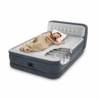 Велюр ліжко надувний Intex 64448 спинка вбудований насос 220V (int_64448)