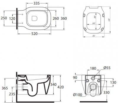 Унітаз AZZURRA Glaze GLZ100B1SOSK + сидіння дюропласт Soft Close GLZ1800F