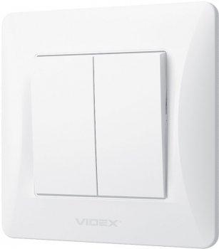 2-клавішний вимикач VIDEX Binera Білий (VF-BNSW2-W)