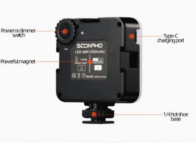 Накамерный LED осветитель Soonpho RGB 68R с аккумулятором 2000 mAh, черный
