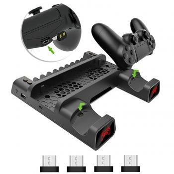 Мультифункціональна вертикальна підставка DOBE для Sony PlayStation PS4 Pro / PS4 Slim / PS4 Fat з охолоджуючими кулерами, зарядна станція для двох геймпадів DUALSHOCK 4 з LED підсвічуванням, підставка під 10 дисків