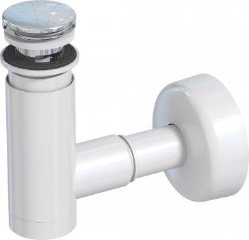Сифон для раковины PREVEX EasyClean 32 мм клик-клак с переливом пластик хром (1512427)