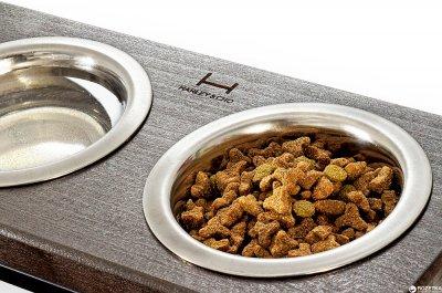 Підставка на дві миски для собак і кішок Harley and Cho M 0.75 л 10 см Коричнева з чорним (3300033)