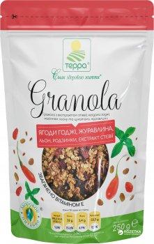 Гранола Терра с экстрактом стевии ягодами годжи, семенами льна и цукатами клюквы 250 г (4820015735188)