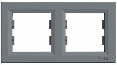 Рамка подвійна горизонтальна Schneider Electric Asfora Сталь (EPH5800262)