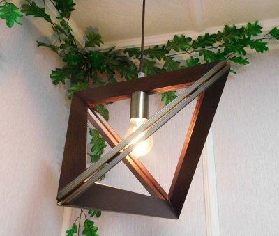 Світильник підвісний TRIANGLE E27 на 1-лампу, темне дерево