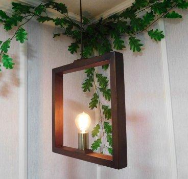 Світильник підвісний SQUARE E27 на 1-лампу, темне дерево