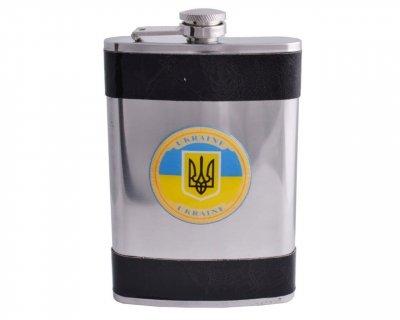 Фляга кожа герб Украина 270 мл F-179-14
