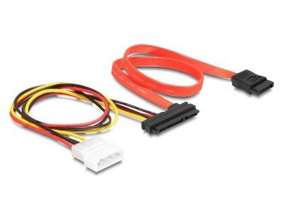 Кабель накопичувача Delock SATA 22p-7p M/M (+Molex) 0.4m 3Gbps різнобарвний(70.08.4230)