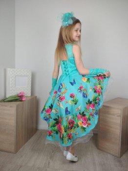 Нарядное платье со шлейфом I.V.A.moda Розы 30 мята iva-500