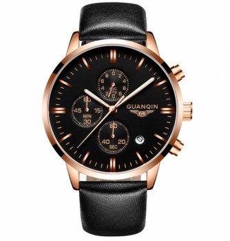 Чоловічий класичний кварцовий годинник Guanquin Digit Black 8801