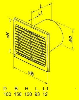 Вытяжной вентилятор Домовент 100 СВ (выключатель)
